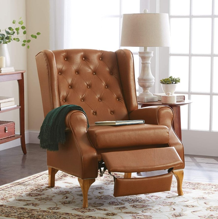 BrylaneHome Queen Anne Tufted Wingback Recliner